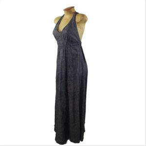 Women's CAbi Chambray Blue Linen Maxi Dress Sz XS